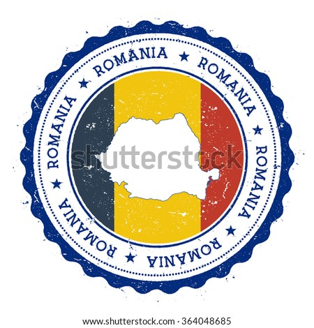 Romania map and flag in vintage rubber stamp of country colours. Grungy travel stamp with map and flag of Romania, vector illustration - stock vector