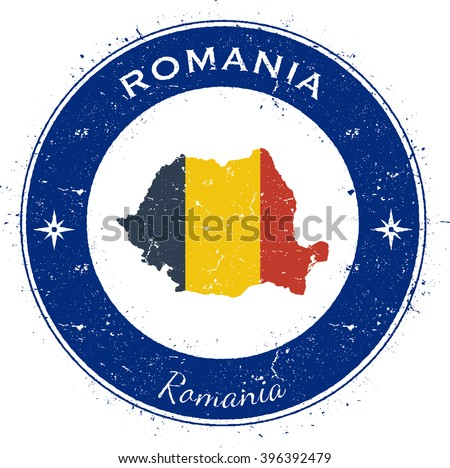 Romania patriotic badge. Grunge rubber stamp with national flag, map and the Romania written along circle border. Patriotic badge of Romania vector illustration. - stock vector