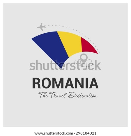 Romania The Travel Destination logo - Vector travel company logo design - Country Flag Travel and Tourism concept t shirt graphics - vector illustration - stock vector