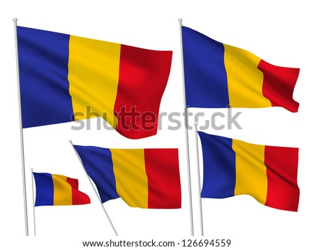 Romania vector flags. A set of 5 wavy 3D flags created using gradient meshes - stock vector
