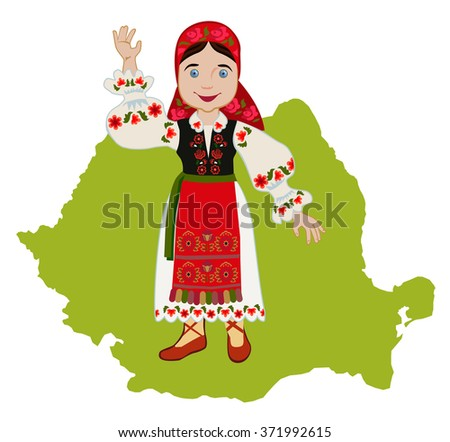 Romanian girl in traditional national dress on a background map - stock vector