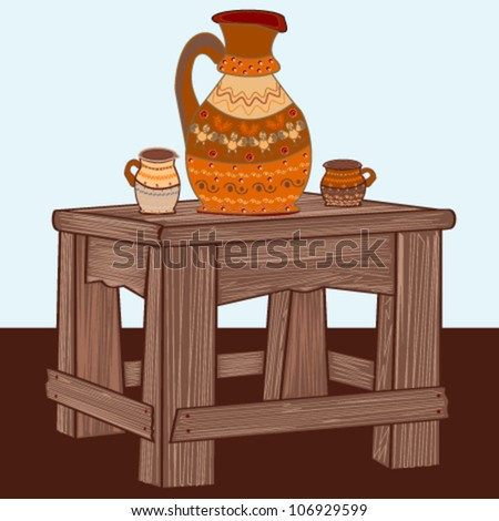 Romanian rustic massive wooden table and ceramic pottery - stock vector