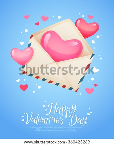 Romantic air mail letter opened envelope with hearts flying out retro postcard for Saint Valentine's Day  - stock vector