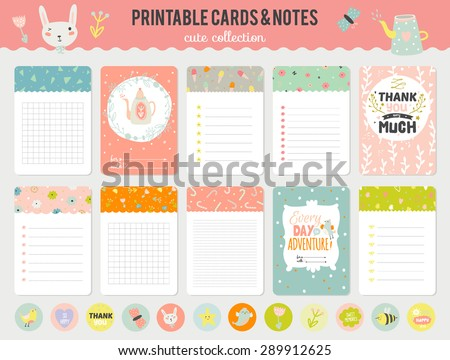 Romantic and Cute Vector Cards, Notes, Stickers, Labels, Tags with Spring Illustrations and Wishes. Template for Greeting Scrap booking, Congratulations, Invitations. Vertical Card Design - stock vector