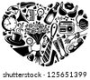 Romantic and dating heart silhouette - stock vector