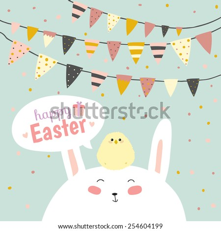 Romantic and love card for Easter in vector. Cute Bunny Ears. Greeting lovely wish with funny smiling rabbit with a chicken on the head. - stock vector