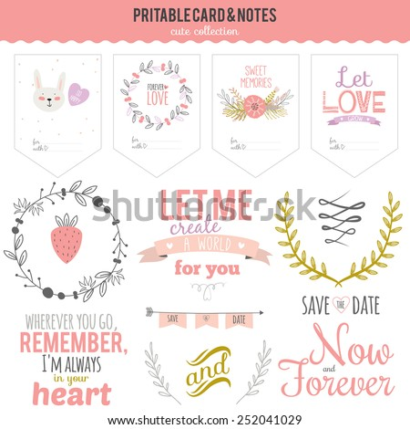 Romantic and love cards, notes, stickers, labels, tags with flowers illustrations. Template for scrapbooking, wrapping, congratulations, invitations. Inspirational lovely lettering for Valentines Day. - stock vector