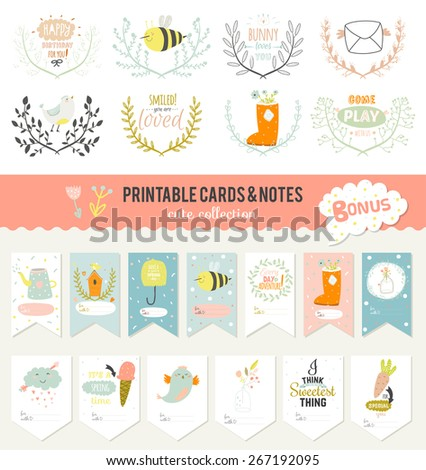 Romantic and love cards, notes, stickers, labels, tags with Spring illustrations. Template for scrapbooking, wrapping, congratulations, invitations. Vector wishes with cute animals, flowers and sweets - stock vector