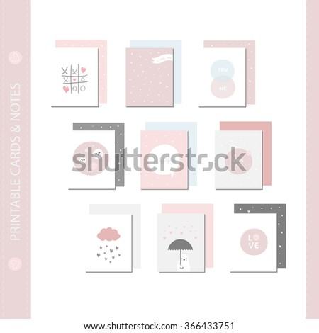 Romantic and love cards, notes, stickers, labels, tags with Spring illustrations.Template for scrap booking, wrapping, congratulations, invitations. Vector wishes with cute animals, flowers and sweets - stock vector
