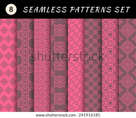 Romantic and love seamless patterns set. Valentine's Day geometric textures. Abstract sweet backgrounds. for smart phone tablet desktop wallpaper banner web design element scrap booking textile - stock vector