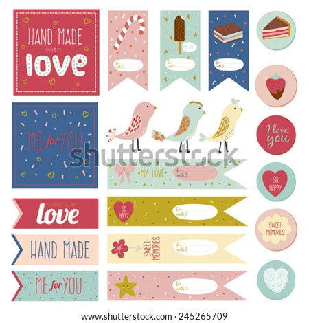 Romantic and love stickers, labels, tags and ribbons with greeting flowers, leafs, wreaths, laurels and wishes for Happy Valentines Day. Template for scrapbooking and wrapping, cards, packages - stock vector