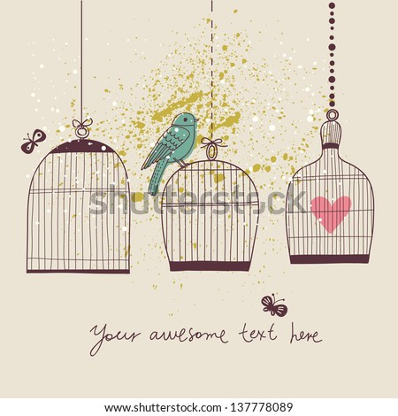 Romantic background with bird and cages. Stylish wedding invitation card. Vintage background in vector