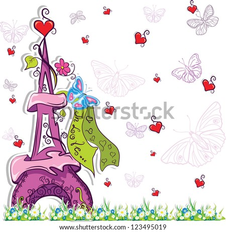 romantic background with colorful eiffel tower,hearts - stock vector