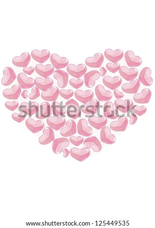 Romantic background with hearts shapes