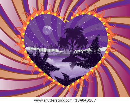 Romantic background with tropical island at night in a heart frame. - stock vector