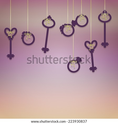 Romantic Background Vintage Keys Wedding Rings Stock Vector ...