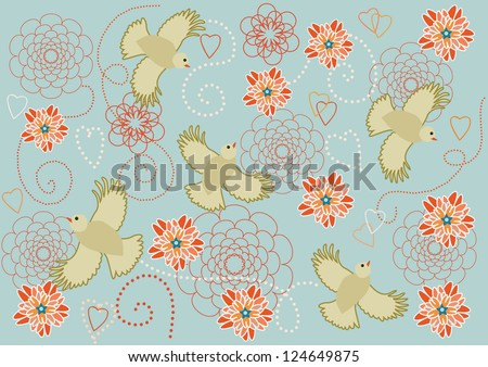 Romantic backgrounds with birds and flowers