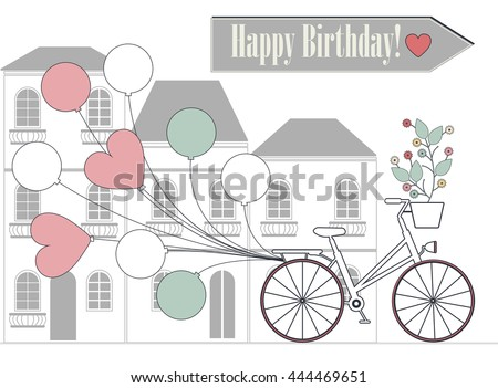 Romantic Birthday card with bicycle, balloons and flowers. Vector illustration. - stock vector