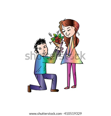 Romantic boy giving a rose to his girlfriend.