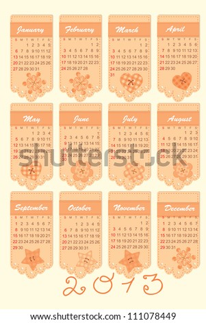 romantic calendar for the year 2013 - stock vector