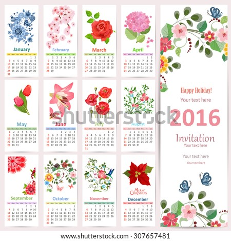 Romantic Calendar for 2016 with beautiful flowers. Cute card with floral design. - stock vector