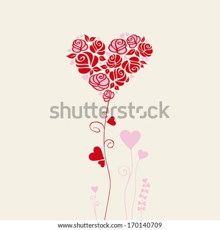 romantic card - stock vector