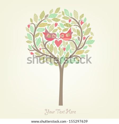 Romantic card with birds - stock vector