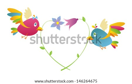 Romantic card with birds in love. Vector illustration.