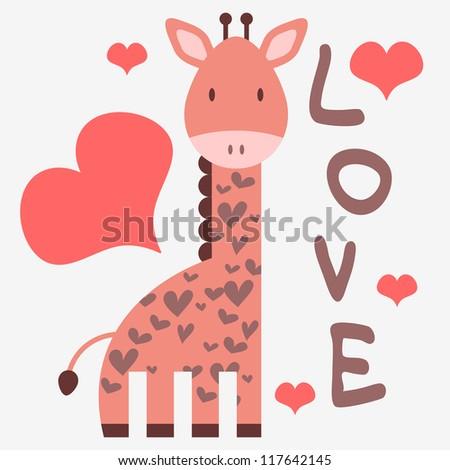 Romantic card with cute giraffe - stock vector