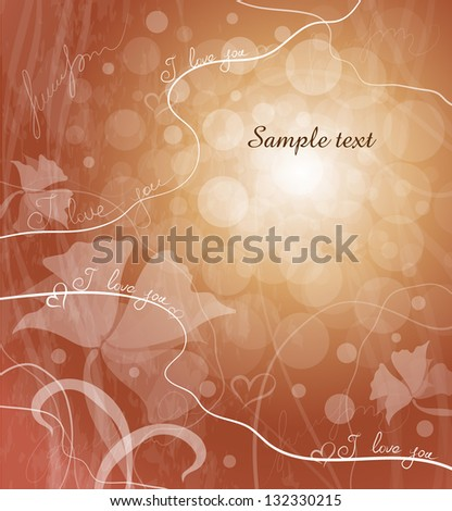 romantic card with flowers - stock vector