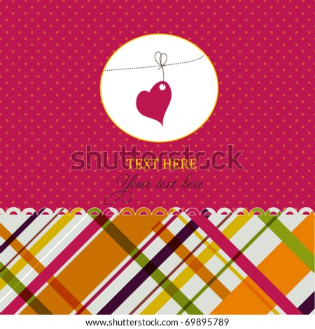Romantic card with heart - stock vector
