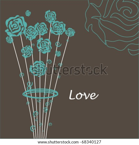 Romantic card with stylished roses bouquet - stock vector