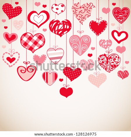 Romantic card with stylized hearts