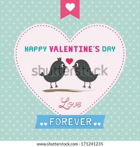 Happy Valentines Day Card Cute Bird Vector 163946219 – Bird Valentine Card