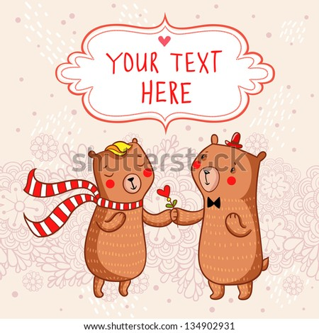 Romantic cartoon background with funny bears in love. - stock vector