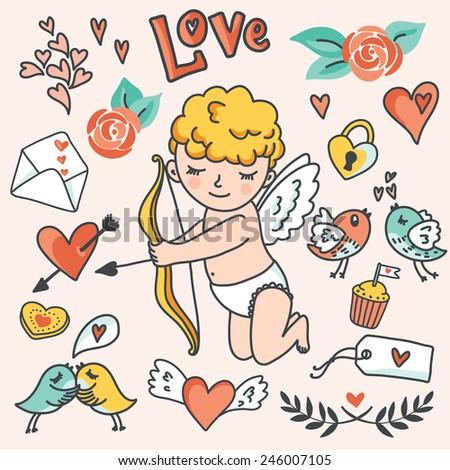 Romantic cartoon vector set. Cute Cupid, birds, envelopes, hearts and other design elements. Vector illustration - stock vector