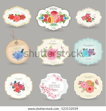 romantic collection retro label with graceful bouquets of lovely flowers for your design