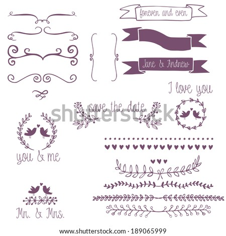 Romantic collection with birds,labels, ribbons, hearts and flowers - stock vector