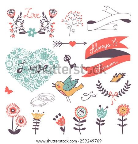 Romantic collection with flowers, wreaths and other graphic elements. Retro style floral wreaths. Vector illustration  - stock vector