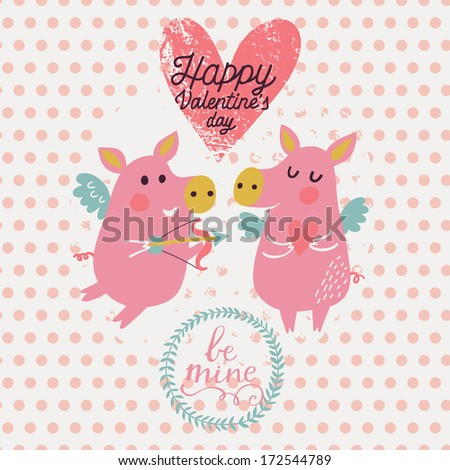 Romantic concept background in pink colors. Funny cartoon piglets on romantic Valentines day card in vector - stock vector