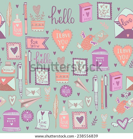 Romantic concept background. Love cute cartoon vector illustration. Seamless pattern. - stock vector