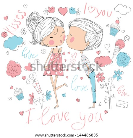 Romantic concept. Loving boy and girl kissing. Cute cartoon vector illustration - stock vector