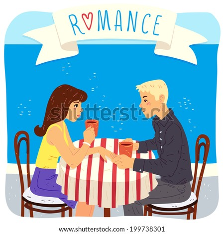 romantic couple at the cafe, vector illustration - stock vector