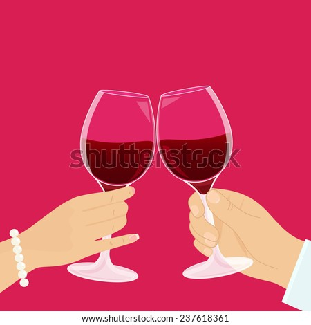 Romantic couple has a date and drinking red wine. - stock vector