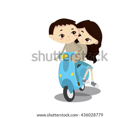 Romantic Couple Illustration - Afternoon Scooter Ride - stock vector