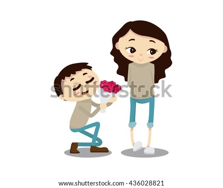 Romantic Couple Illustration - Happy Anniversary Dear - stock vector