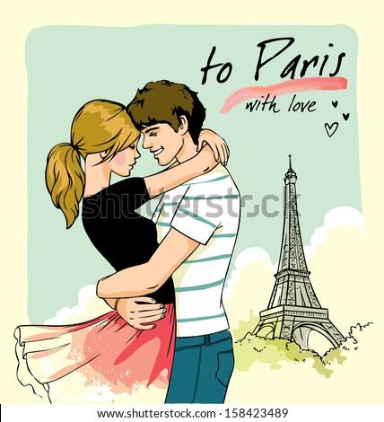 romantic couple in Paris - stock vector