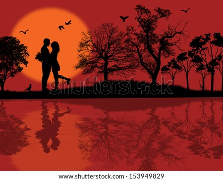 Romantic couple silhouette embrace over red sunset on a park, vector illustration - stock vector