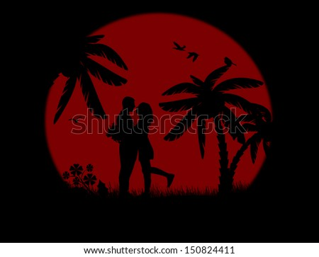 Romantic couple silhouette embrace over red sunset, vector illustration - stock vector