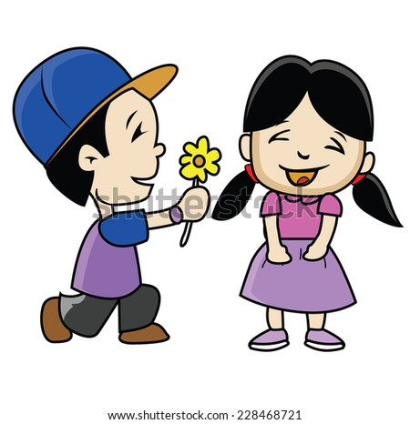 Romantic Couple with flower isolated on white - stock vector